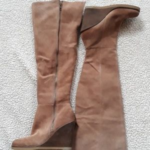 Never worn neutral taupe wedge over the knee boots